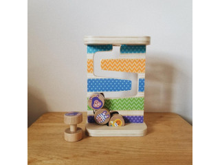 Wooden Zig Zag Tower with Four Rolling Pieces